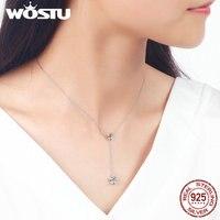 WOSTU New Arrival Thực 100% 925 Sterling Silver Daisy Tình Yêu Pendant Necklaces Cho Phụ Nữ Thương Hiệu Sang Trọng Jewelry Lover Quà Tặng CRN019