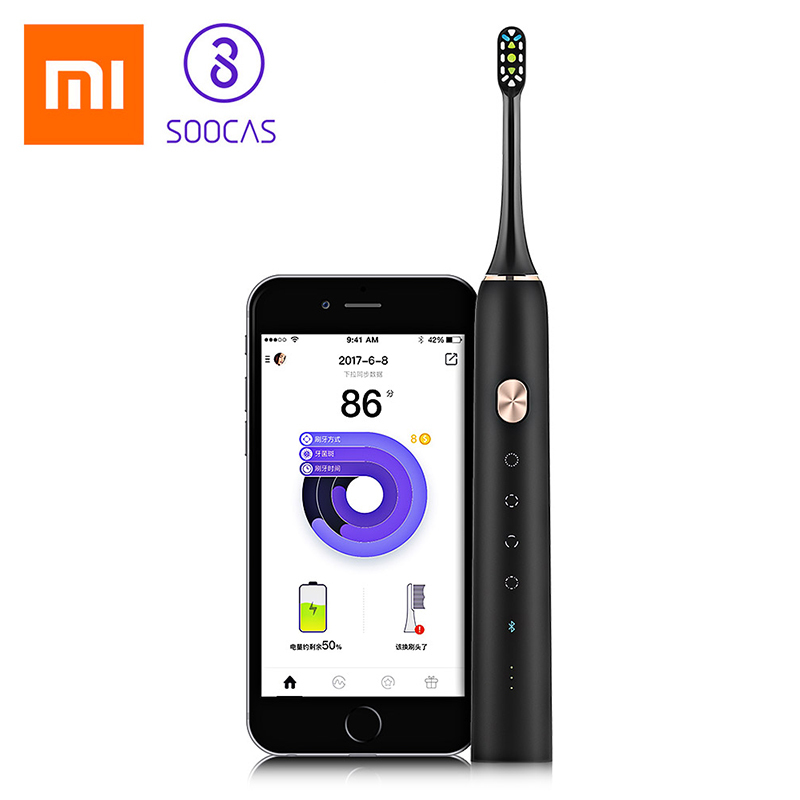 Xiaomi Soocare Soocas X3 Mi Electric Toothbrush Waterproof Wireless Toothbrush Sonic Bluetooth Charge Mi Home APP With 2pcs Head xiaomi mi home soocas x3 soocas x1 soocare waterproof electric toothbrush rechargeable sonic toothbrush ultrasonic toothbrush