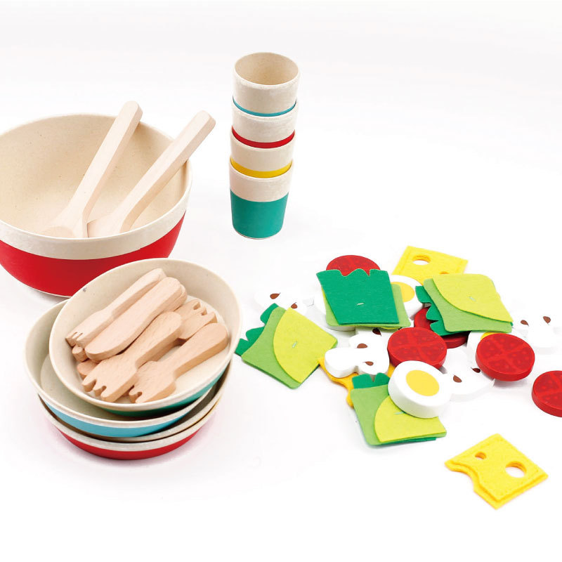 Children's Simulation Fun Salad Bowl Set Play Toys for Children Gift Wooden Kitchen Tableware Cooking Toys 3-9 Years Old