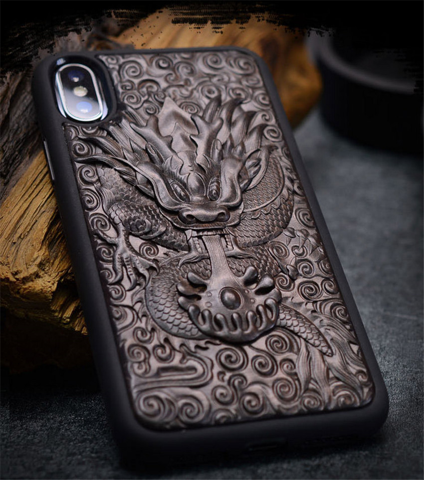 Case For iPhone XR X XS Max ebony Black wood 3D Stereo Emboss Carved Wooden TPU Back Cover Case For iPhone 6 6s 7 8 plus (6)