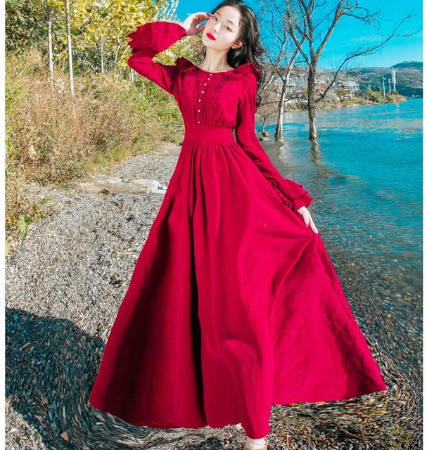 8ac20614f27b3d Lente Herfst Vrouwen Rood Blauw Maxi Jurk Dames Vintage Paleis Stijl Lange  Mouw Elegante Corduroy vrouwen kleding 2019
