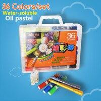 36 cores embalagem caixa de plástico lavável lápis solúvel em água pastéis de óleo para crianças material escolar escritório papelaria