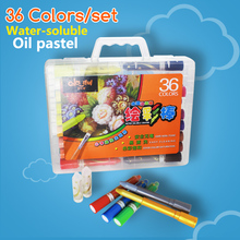 36 colors plastic box packaging Washable Crayons Water soluble Oil Pastels for kids stationery office school supplies