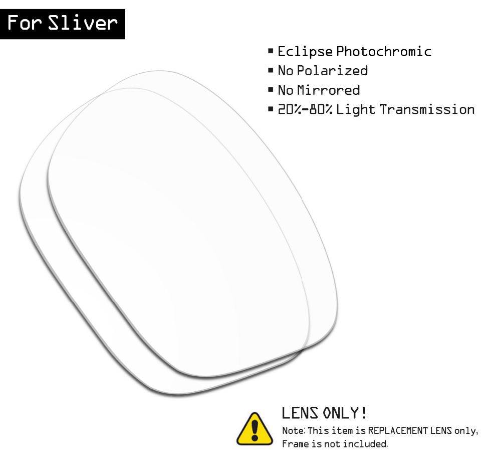 SmartVLT Sunglasses Replacement Lenses For Oakley Sliver - Eclipse Grey Photochromic