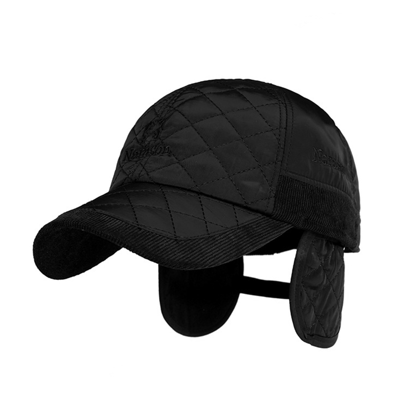 winter baseball cap with flaps warm men brand black solid bone hats ear broncos hat classic