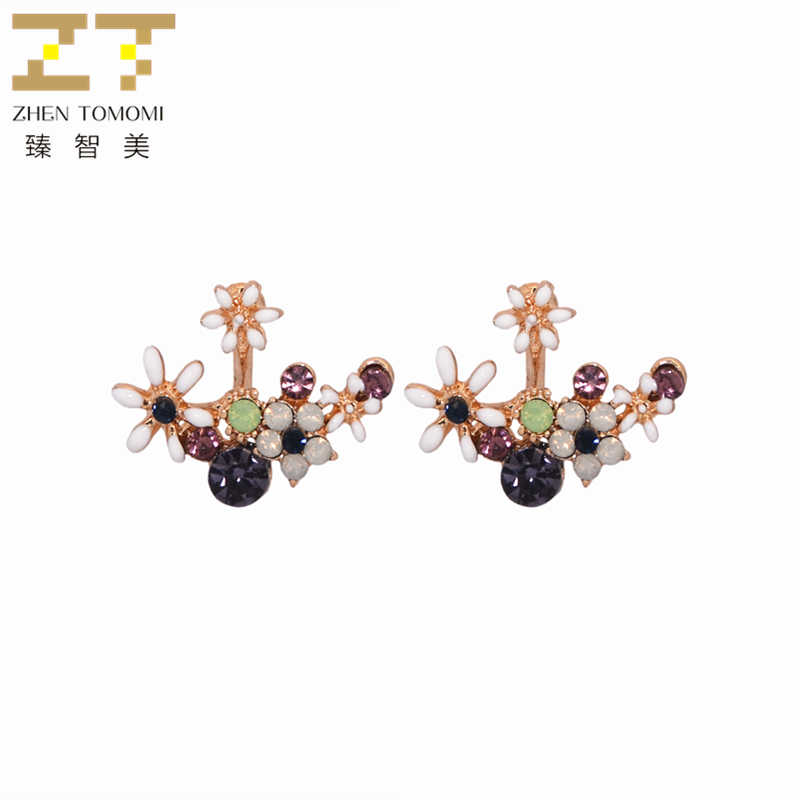 2019 Women's Hot Fashion Front & Back Post-hanging Earrings Mixed Color Crystal Flower Stud Earrings Ear Clips For Women Jewelry