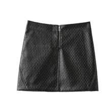 Buenos Ninos black mini skirts before zipper women autumn winter bottom PU skirts 40 buenos ninos красная роза s
