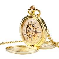 Antique Steampunk Skeleton Windup Mechanical Hand Wind Pocket Watch Luxury Gold Smooth Double Hunter Roman Numerals