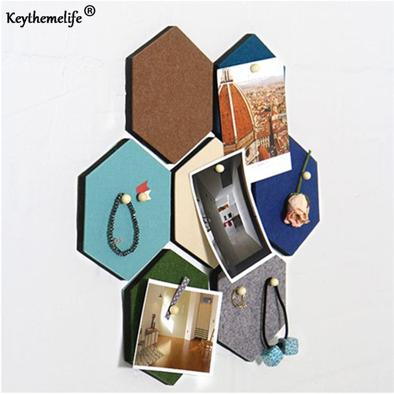Keythemelife 1Pcs Color Wall Stickers Multi-functional Hexagonal Decorative Wall Board Art Wall with 1 Nail for Home Decor CF