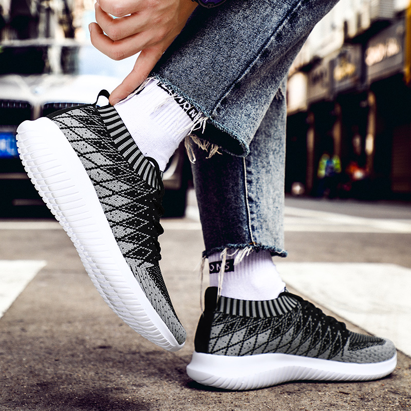 2019 Newest Sock Men Sneakers Breathable Mesh Running Shoes for Men Slip-On Man Sport Shoes Outdoor Male Walking Jogging Shoes