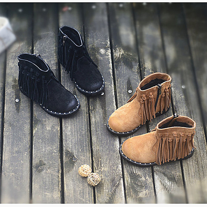 865ad0cd0080 Genuine leather Girls Chelsea boots Children Casual shoes Suede Kids  Western Knight boots Fashion Fringe Martin Boots -in Boots from Mother    Kids on ...