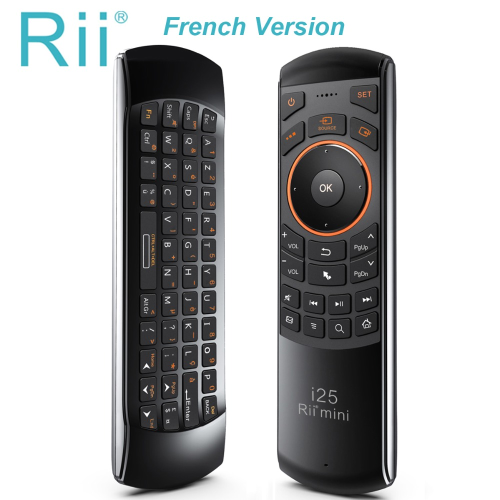 Original Rii Mini i25 2.4Ghz Air Fly Mouse Remote Control with English Keyboard for Samsung Smart TV Android TV BOX RT-MWK25 arabic keyboard rii mini i25 k25 fly air mouse 2 4ghz wireless keyboard remote controller for android tv box htpc pc tablet