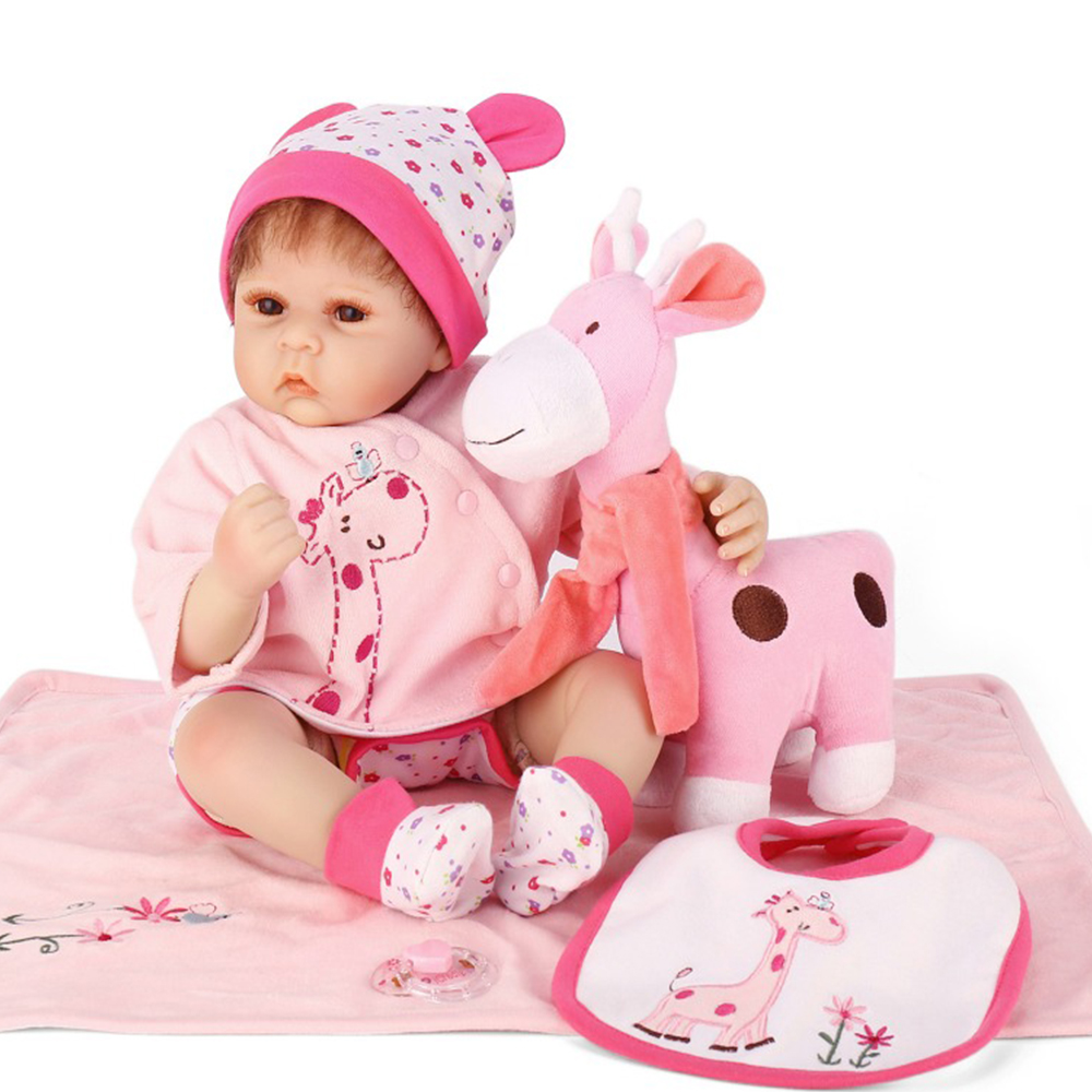 50cm silicone reborn baby dolls for sale Bebe realistic reborn girl dolls with pink giraffe pacifier lovely child doll gift50cm silicone reborn baby dolls for sale Bebe realistic reborn girl dolls with pink giraffe pacifier lovely child doll gift