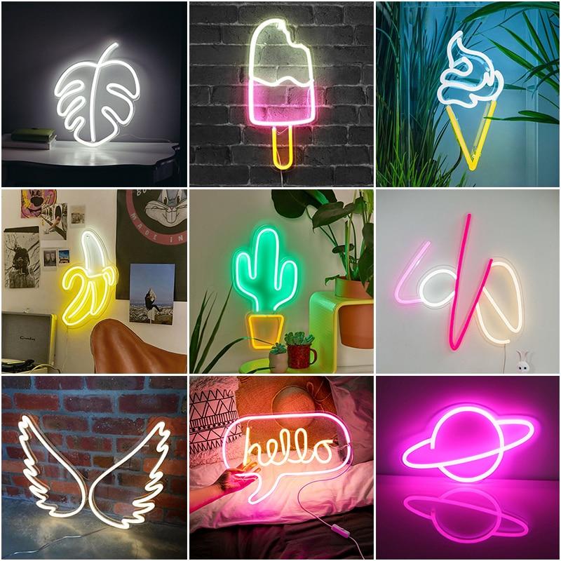 USB светодиодный неоновый светильник Hello Wall Art знак светильник s Спальня украшения крыло неоновая вывеска для организаций и магазинов висит н...