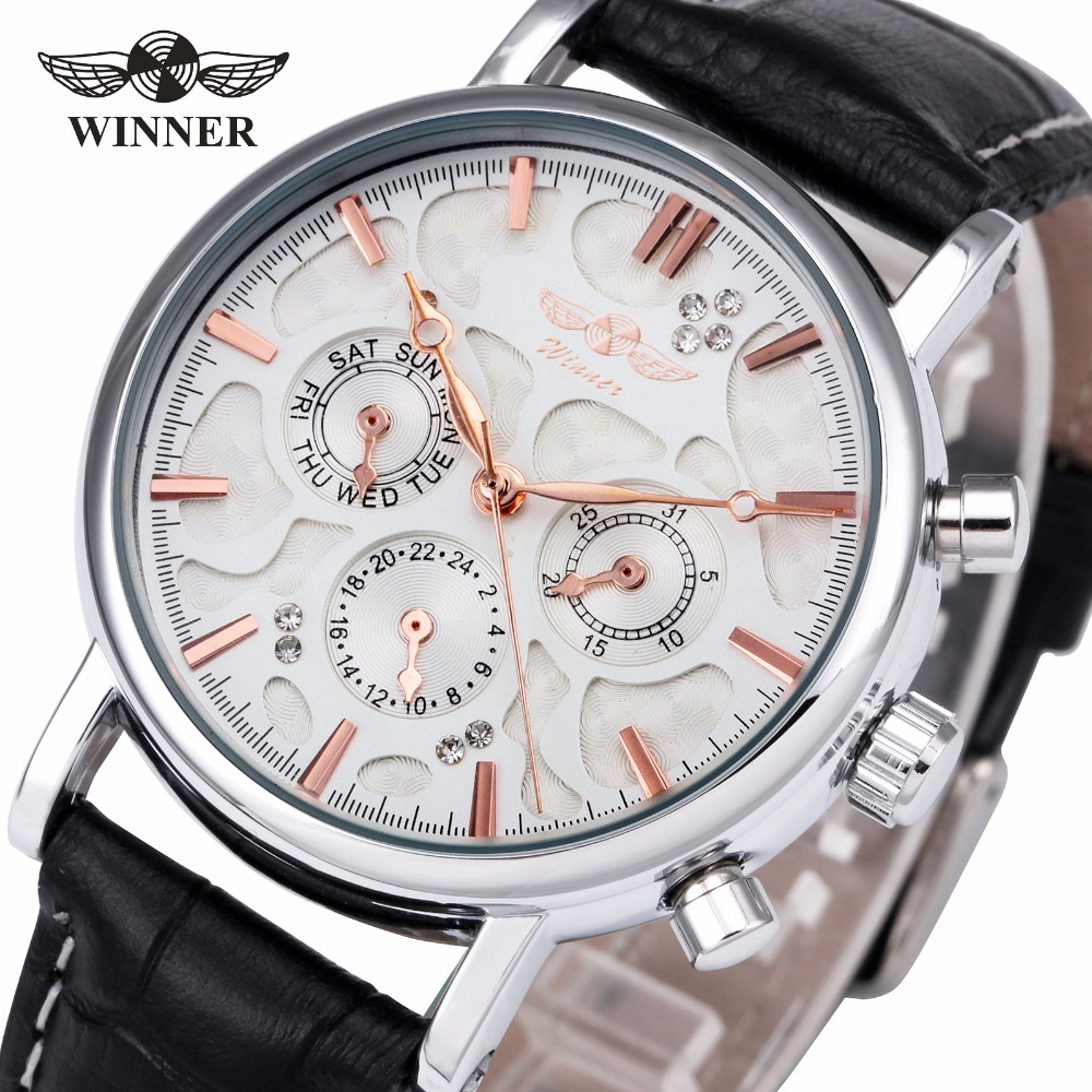 2018 WINNER Brand Men's Automatic Mechanical Watch Leather Strap 3 Sub-dials Supersize Case Top Luxury Brand Design + GIFT BOX winner men s automatic mechanical watch stainless steel strap date calendar sub dial supersize new fashion sports design