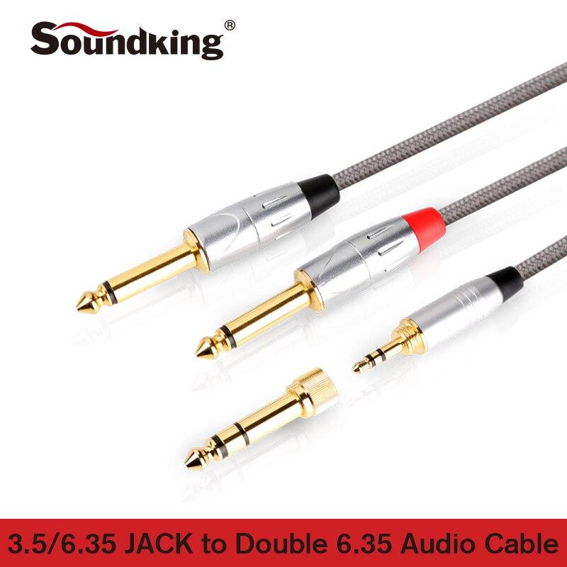 Soundking Aux cable 3,5/6,35mm jack a 2*6,35 jack cable de audio macho a macho 3,5 adaptador enchufe para amplificador consola de mezcla B23