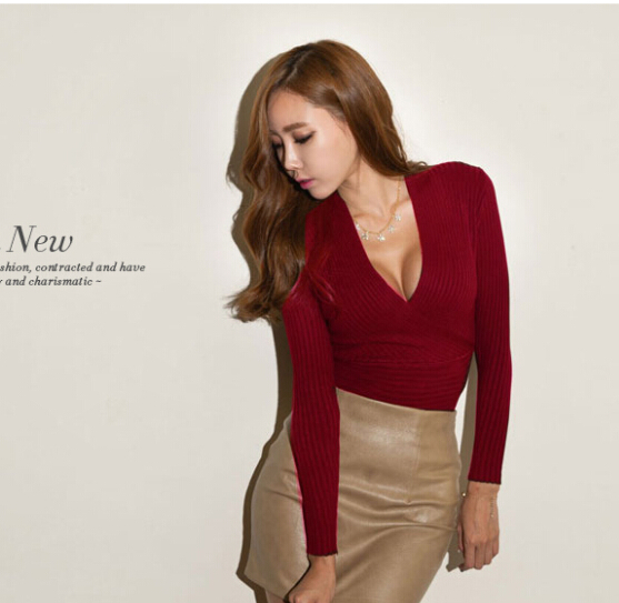 a2d80a834d2ae Stylish Lady Women Sexy Low Cut Wrap Long Sleeve Fitted V-neck T-shirt  Casual T Shirt Tops