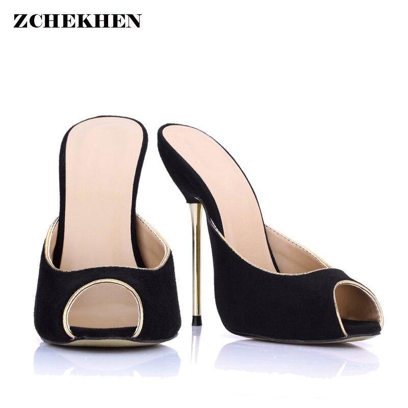 c30407e32 Пикантные модные женские туфли-мюли из флока с открытым носком, серебристые  туфли-лодочки с ремешком на пятке, женские туфли на высоком кабл.