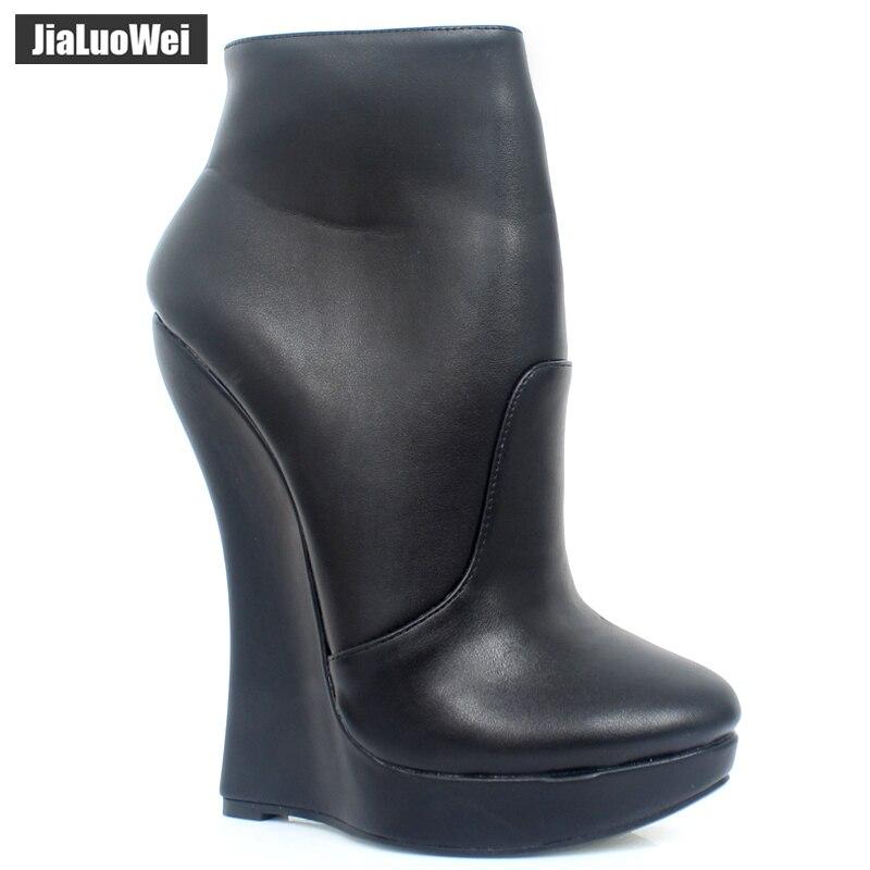 Jialuowei 18CM Super High Wedge Heel Platform Ankle Boots Zippper Round to PU Leather Women Footwear