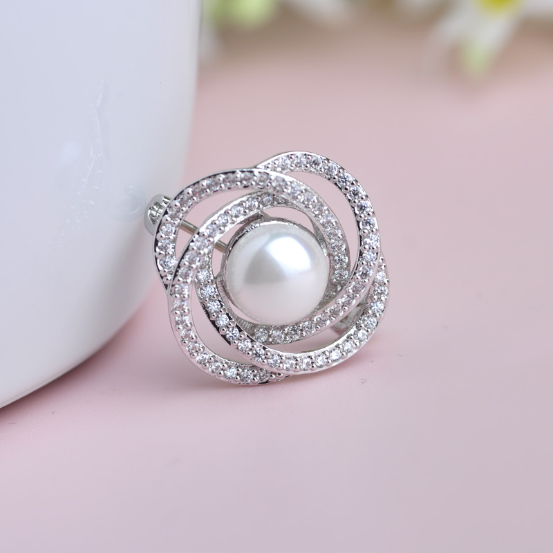 MECHOSEN Imitation Pearl Copper Brooches Luxury Zircon Stones Small Broches Women Hijab Pin Collar Tips Dress Decoration Jewelry