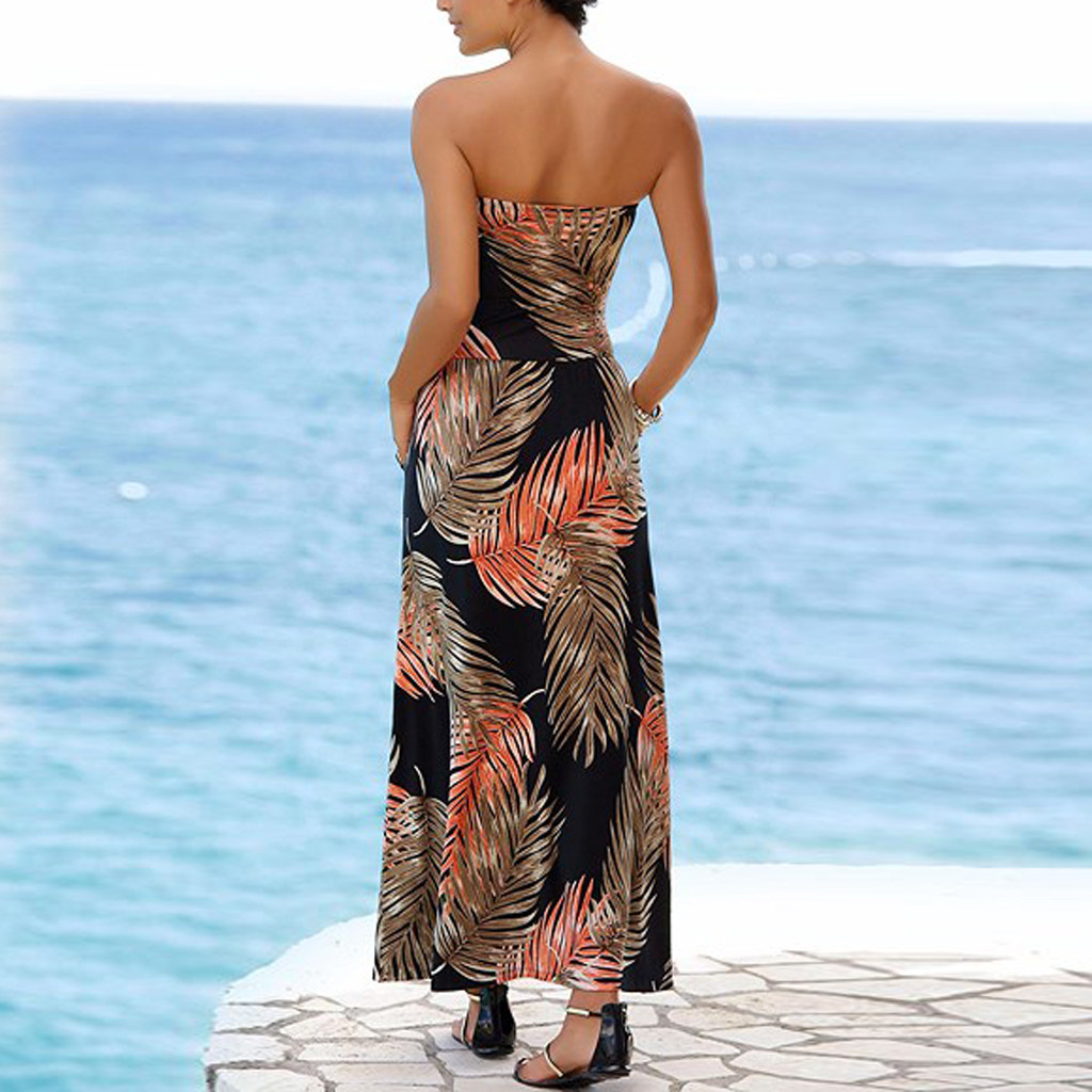 Women Dresses Sexy sexy Bandeau elegant Holiday Off Shoulder Sleeveless Beach Print Summer Maxi Women s
