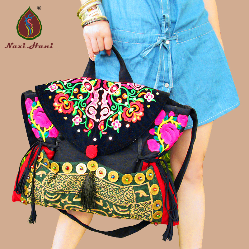 Original Bohemia canvas cover women handbags ethnic embroidery handmade Tassel copper Shoulder messenger bags original ethnic embroidered women handbag vintage handmade tassel shoulder bags black canvas casual large bags