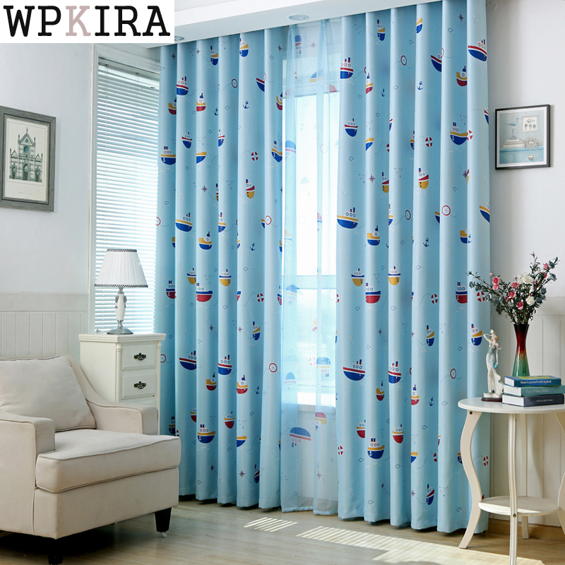 Kids Bedroom Curtains #20: Cartoon Tulle Curtains Finished Product Blue Sailboat Kids Bedroom Curtains For Living Room Kids Real Sea