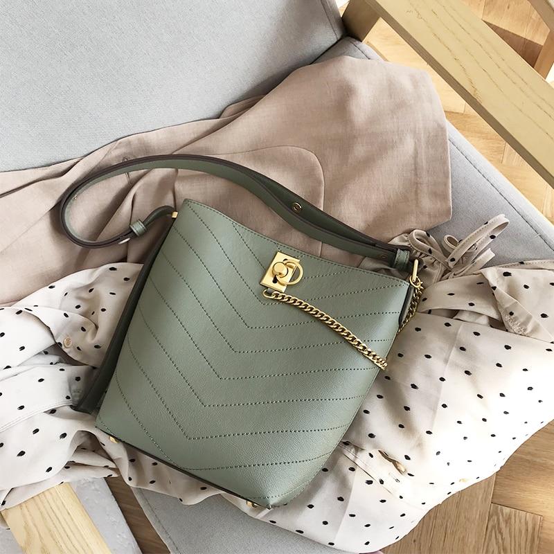 VENOF Fashion composite bag split leather Shoulder Bag for women simple style shoppings bucket bag ladies