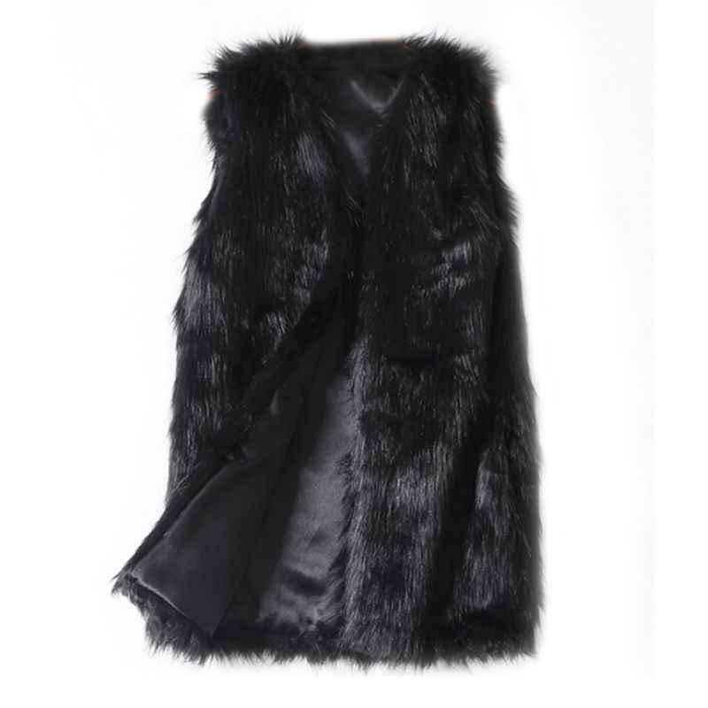 긴 검은 색 흰색 모피 조끼 여성 탑스 가짜 모피 코트 플러스 사이즈 민소매 조끼 카디건 가을 겨울 코트 여성용