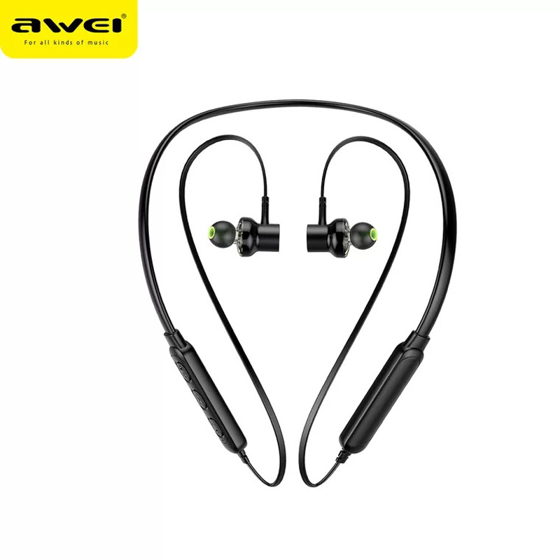 AWEI G20BL Bluetooth Earphone Dual Driver Wireless Headphone Sport Bass Sound with Microphone Noise Cancelling