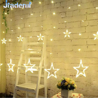 Jiaderui 138LED Curtain String Light Christmas New Year Decor Romantic Star Warm White Xmas Garland Lamp for Wedding Party Decor