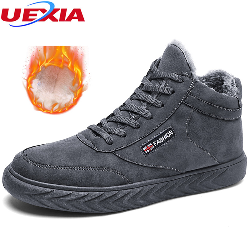 UEXIA New With Fur Warm Causal Comfortable Shoes Men Luxury Black Lace-Up Leather Gray Winter Boots Sneakers Plush Comfortable 2018 new fashion luxury brand men loafers winter fur warm sneakers genuine leather high quality lace up black casual shoes 38 44