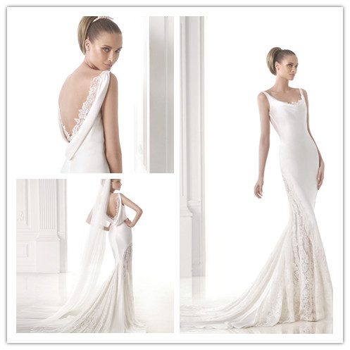 Subtle Mermaid Floor Length D Scoop Neckline Lace And Satin Wedding Dresses Bridal Gown