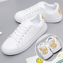 2017 new fashion butterfly embroidered white shoes women flat sandals white shoes with casual shoes