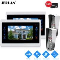 JERUAN 720 P AHD HD обнаружения движения 10 ''видео домофон разблокировки внутренней Системы 2 запись монитор + 2 HD ИК порт Mini 1.0MP Камера 2V2