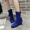 Женщины Большой Размер обуви US34-47 2016 Мода стиль Flock Плоские Ботинки Кисточкой Slip-На Med Хромовых Сапогах для женщин
