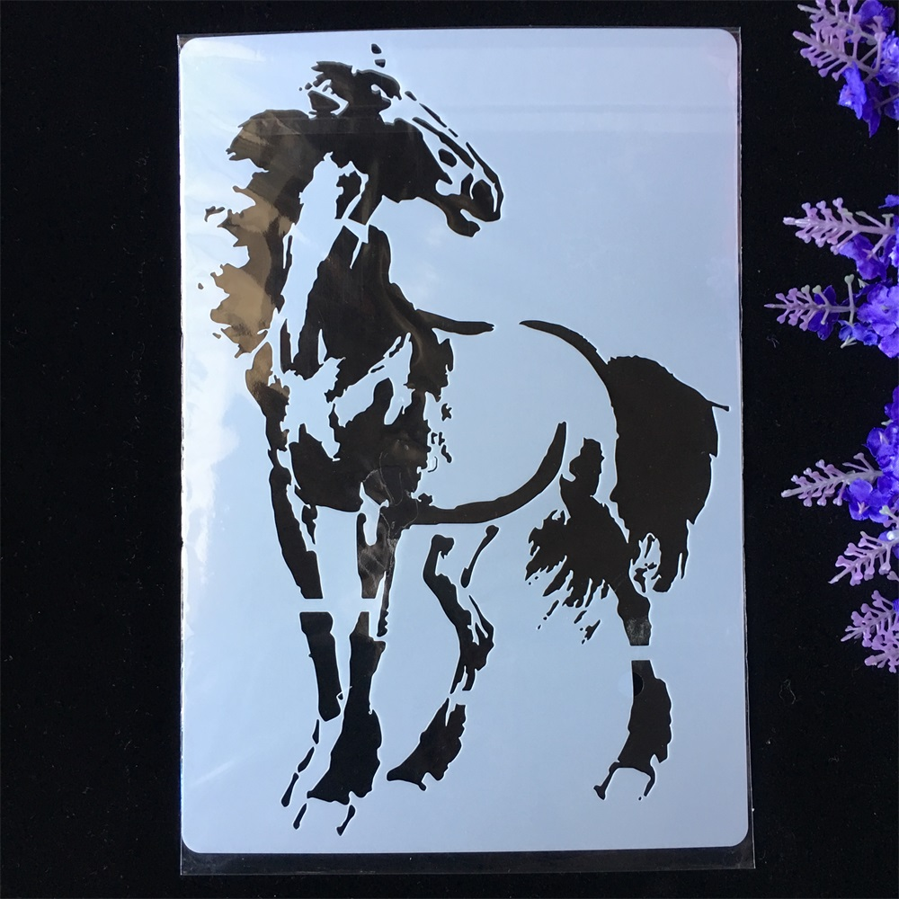 New Horse DIY Layering Stencils Painting Scrapbook Coloring Embossing Album Decorative Paper Card Template