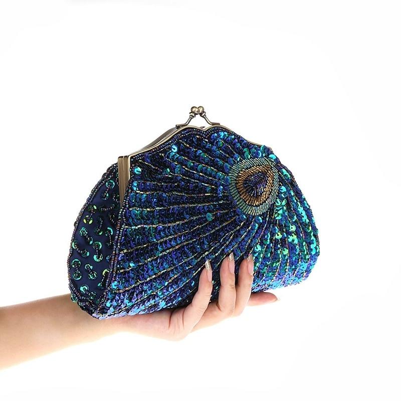 2018 New Retro Beaded Sequined Women Evening Bags Peacock Cheongsam Luxury Designer Handbags Clutch Purses Crossbody Handbags