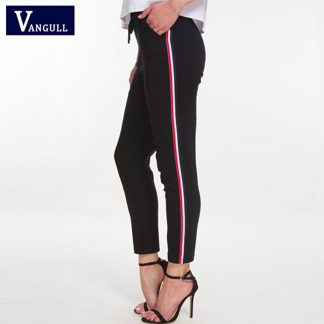 Vangull Striped Skinny High Waist Pants New Women Autumn New Drawstring Pockets Cotton Pencil Pants Black Casual Women Trousers