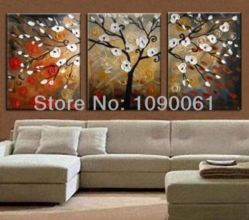 Hand Painted Modern Abstract White Flowering Tree Canvas Art Set 3 ...