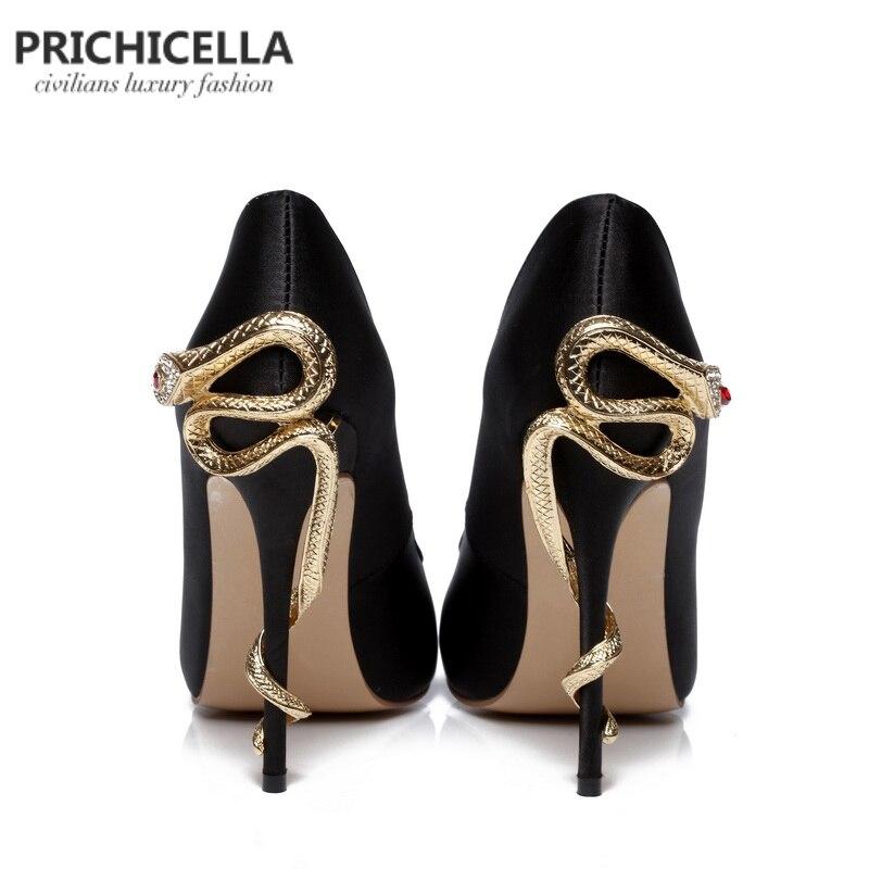 PRICHICELLA/атласные золотые туфли под платье на каблуке под змеиную кожу; уникальные туфли лодочки на высоком каблуке с острым носком из натуральной кожи - 6