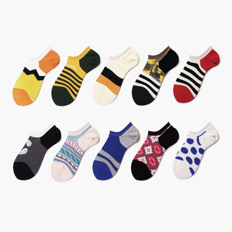 PEONFLY 2020 Men's Socks New Design Striped Casual Boat Socks Short Summer Breathable High Quality Happy Combed Cotton Socks Men
