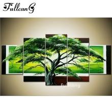 FULLCANG diy dimond painting 5 pcs diamond embroidery evergreen tree full square mosaic with rhinestone E1137