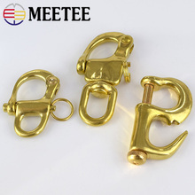 Meetee Pure Copper Shackle Swivel-Snap Hook Key Chain Ring Release Boat Buckle Durable Fixed Super Load Weight AP667