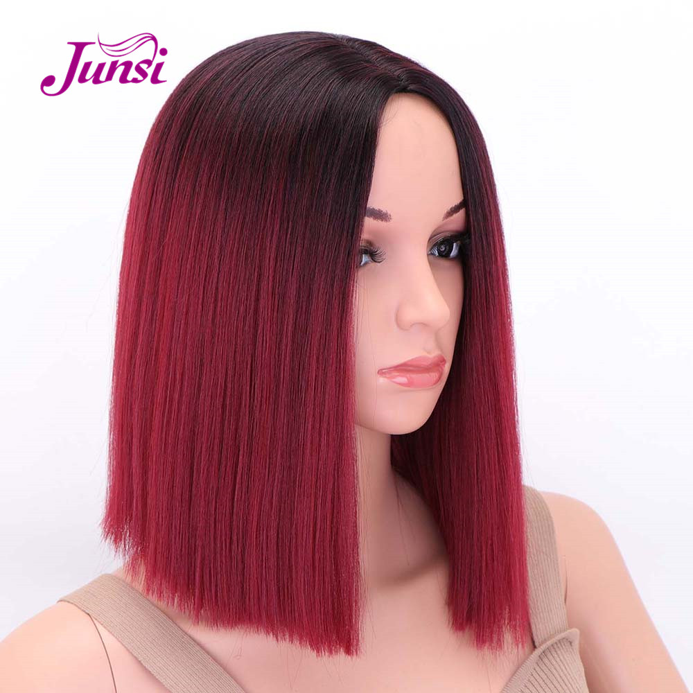 JUNSI Short Red Bob Synthetic Wigs Black Straight Hair Middle Part Ombre Wig For Women High Temperature Fiber Hair
