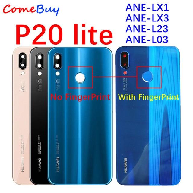 Huawei P20 Lite סוללה כיסוי חזרה זכוכית פנל אחורי דלת שיכון מקרה עם כפתור טביעת אצבע עבור Huawei P20 Lite סוללה כיסוי