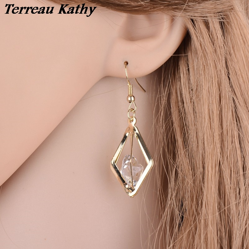 Terreau Kathy Real Shooting 2019 <font><b>News</b></font> Plated Gold Drop Earring Zircon Crystal Geometric Earrings For Women Hot Sale image