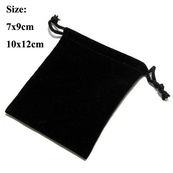100pcs/lot 7x9, 10x12cm Black/Blue/Red/Wine Red Drawstring Velvet Bags For Jewellery Pouches Christmas Gift Bag Customize Logo
