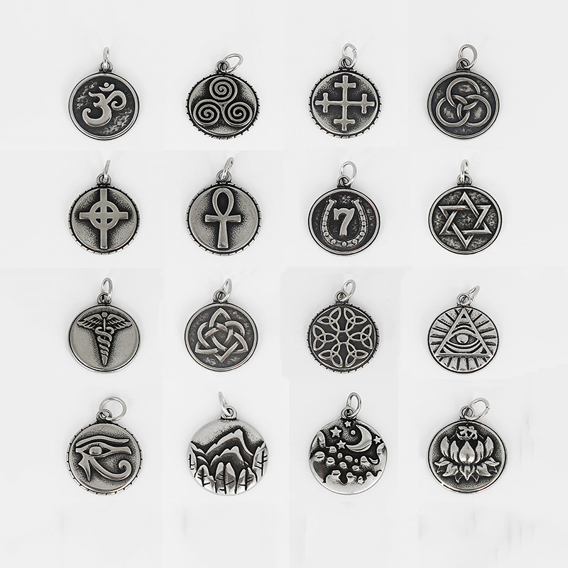 4pcs Mens Necklace Stainless Steel Om Ohm/Love Small Pendant & Greek Sanskrit Meditation Symbol Yoga Pendant Jewelry Accessories