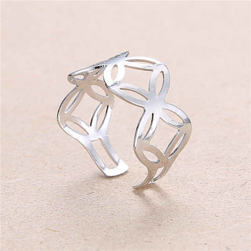 2019 New Fashion Hollow Flower  Opening Ring  For Women Punk Alloy Finger Rings Simple Boho Jewelry